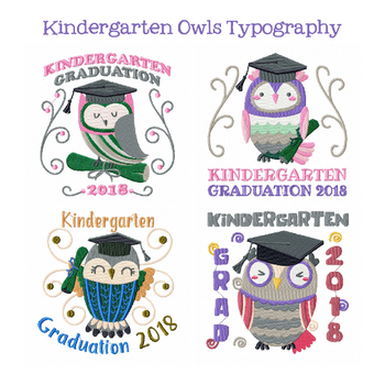 Machine Embroidery Designs - Owl Kindergarten Typography Collection of 4