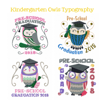 Machine Embroidery Designs - Owl Preschool Typography Collection of 4