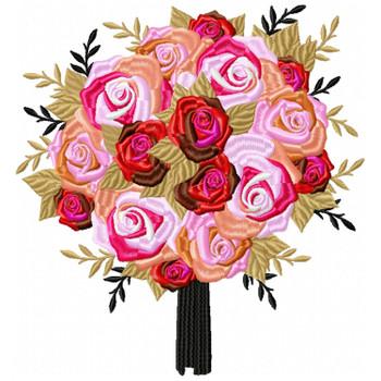 Round Bouquet Wedding Bouquet Collection #06 Machine Embroidery Design