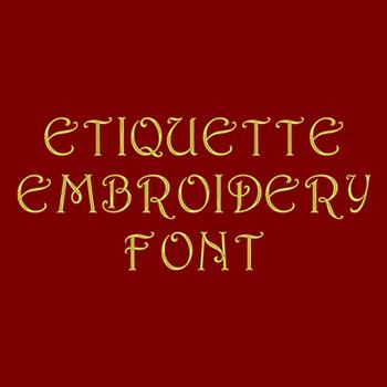 Machine Embroidery Font - Etiquette Font