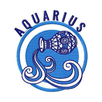 Aquarius - Zodiac Collection #04 Machine Embroidery Design