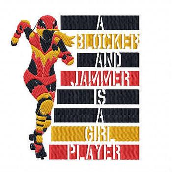Blocker And Jammer - Roller Derby Girl #2 Machine Embroidery Design