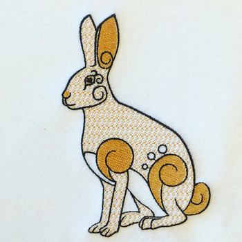 Ornamental Hare - Ornament Animal Collection #26 Machine Embroidery Design