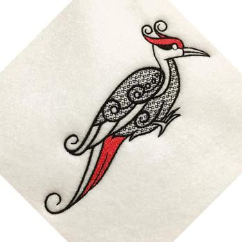 Ornamental Woodpecker - Ornament Animal Collection #28 Machine Embroidery Design