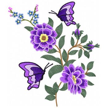 Flower Garden And Butterflies #02