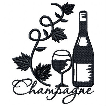 Champagne Vine Wine Bag Design #5 Machine Embroidery Design