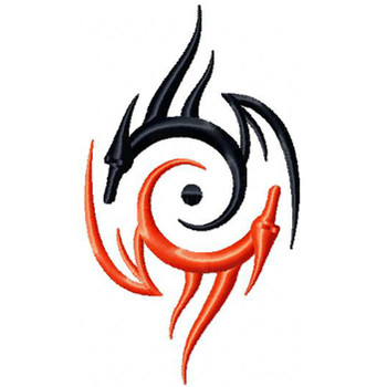Yin Yang Dragon - Tribal Dragon #10 Machine Embroidery Design