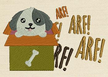 Dog In The Box Mug Rug In The Hoop Machine Embroidery Design