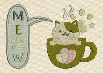 Meow Mug Rug In The Hoop Machine Embroidery Design