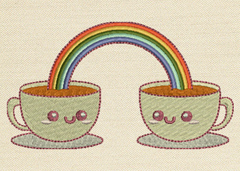 Rainbow In Two Cups Mug Rug In The Hoop Machine Embroidery Design
