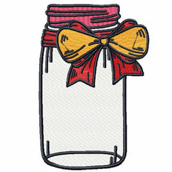 Red and Yellow Bow Mason Jar - Canning Jars #03 Machine Embroidery Design