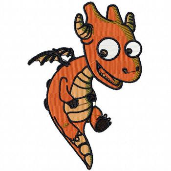 Orange Dragon - Dragon Cartoon #01 Machine Embroidery Design