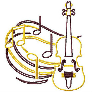 Outlined Violin - Musical Instrument Collection #06 Machine Embroidery Design