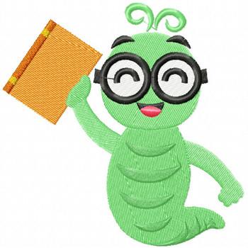 Happy Worm - Bookworm #06 Machine Embroidery Design