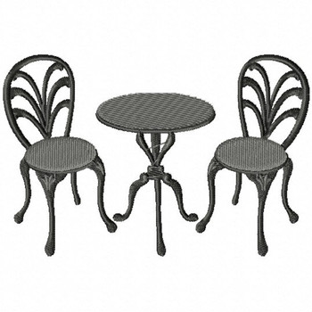 French Table and Chairs- French Cafe #13 Machine Embroidery Design