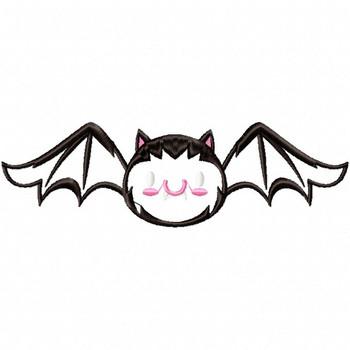 Halloween Bat - Halloween #01 Stitched and Applique Machine Embroidery Design