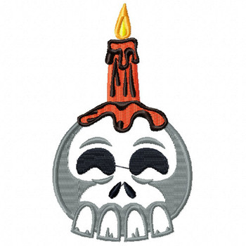 Halloween Skull Candle- Halloween #06 Stitched and Applique Machine Embroidery Design