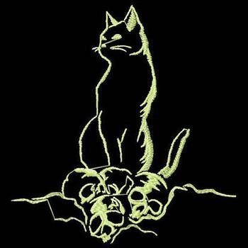 Cat - Glow in the Dark Halloween #02 Machine Embroidery Design