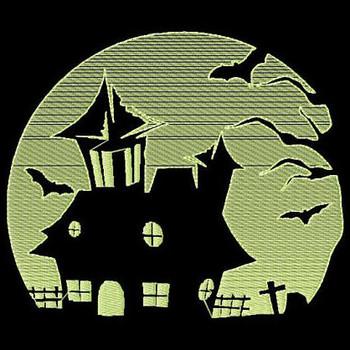 Haunted House - Glow in the Dark Halloween #04 Machine Embroidery Design