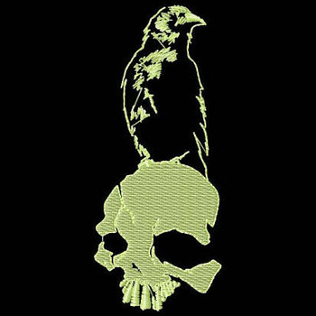 Skull and Crow - Glow in the Dark Halloween #05 Machine Embroidery Design