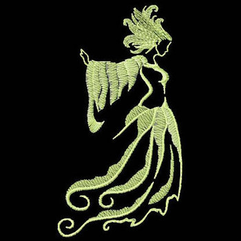 Lady in White - Glow in the Dark Halloween #06 Machine Embroidery Design