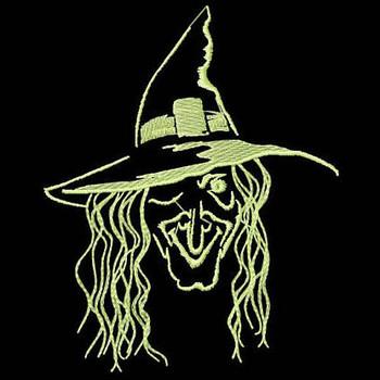 Witch - Glow in the Dark Halloween #08 Machine Embroidery Design