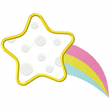 Polka Falling Star - Star #03 Stitched and Applique Machine Embroidery Design