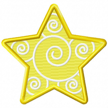 Swirly Star - Stars #05 Stitched and Applique Machine Embroidery Design