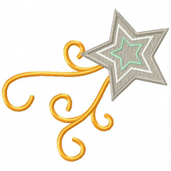 Silver Star Trail - Stars #09 Stitched and Applique Machine Embroidery Design