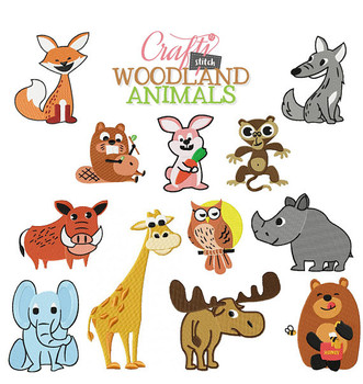 Woodland Animals Collection 12 Machine Embroidery Designs
