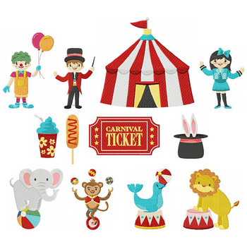 Circus Carnival Collection 12 Machine Embroidery Designs