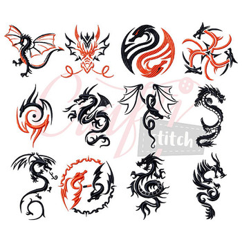 Tribal Dragon Collection of 12 Machine Embroidery Designs