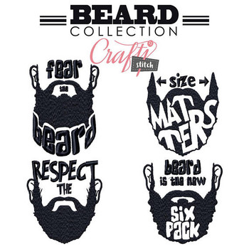 Beard Collection of 4 Machine Embroidery Designs