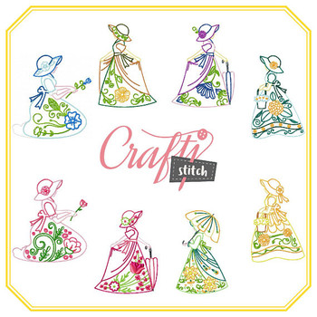 Old Fashioned Ladies Collection of 8 Machine Embroidery Designs