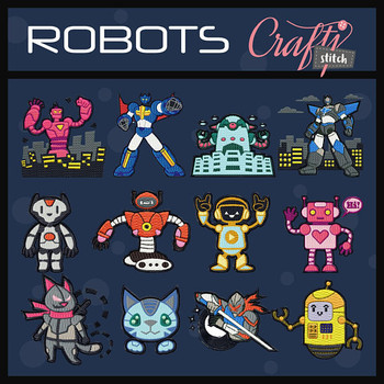 Robot Collection of 12 Machine Embroidery Designs