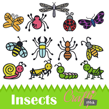 Insect Collection of 13 Machine Embroidery Designs