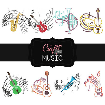 Music Collection of 8 Machine Embroidery Designs
