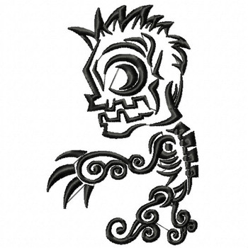 Zombie - Tribal Tattoo Halloween Design #03 Machine Embroidery Design