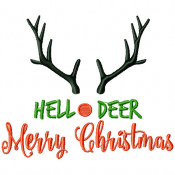 Hello Deer Merry Christmas - Christmas Typography #03 Machine Embroidery Design