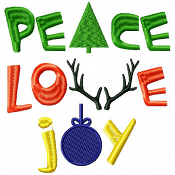 Peace Love Joy - Christmas Typography #05 Machine Embroidery Design