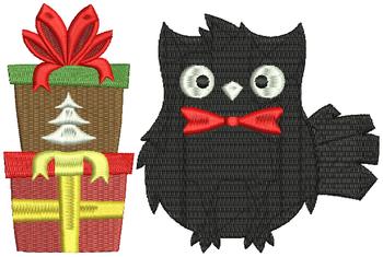 Christmas Owls #01 Machine Embroidery Design
