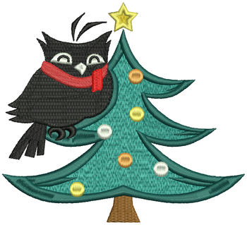 Christmas Owls #02 Machine Embroidery Design