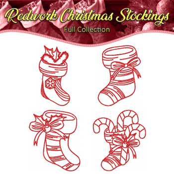 Redwork Christmas Stockings Collection of 4 Machine Embroidery Designs