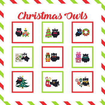 Christmas Owls Collection of 9 Machine Embroidery Designs in Stitched