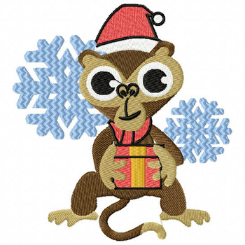 Christmas Monkey - Christmas Woodland Animals #11 Machine Embroidery Design