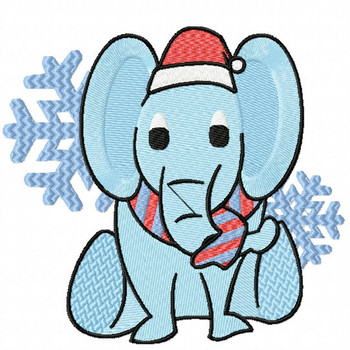 Christmas Elephant - Christmas Woodland Animals #12 Machine Embroidery Design