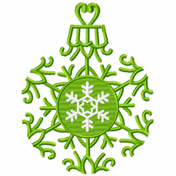 Green Snowflake Ornament - Christmas Ornaments #07 Machine Embroidery Design