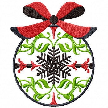 Red Ribbon Ornament - Christmas Ornaments #06 Machine Embroidery Design