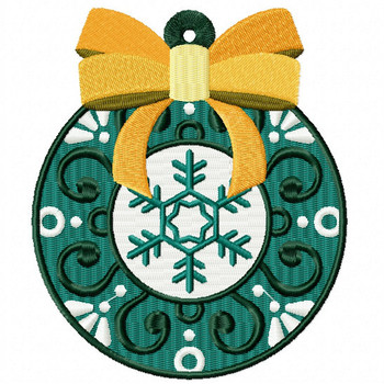 Yellow Ribbon Ornament - Christmas Ornaments #11 Machine Embroidery Design
