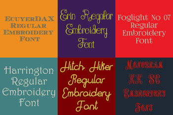20 BX Fonts - Font Bundle 4 - 20 Embrilliance Machine Embroidery Fonts